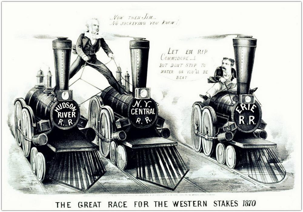 Борьба Вандербильта с Джеймсом Фиском (Erie Railroad) за контроль над железнодорожными перевозками