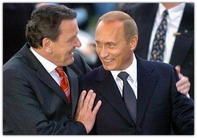 Дружеское объятие Путина и Шредера